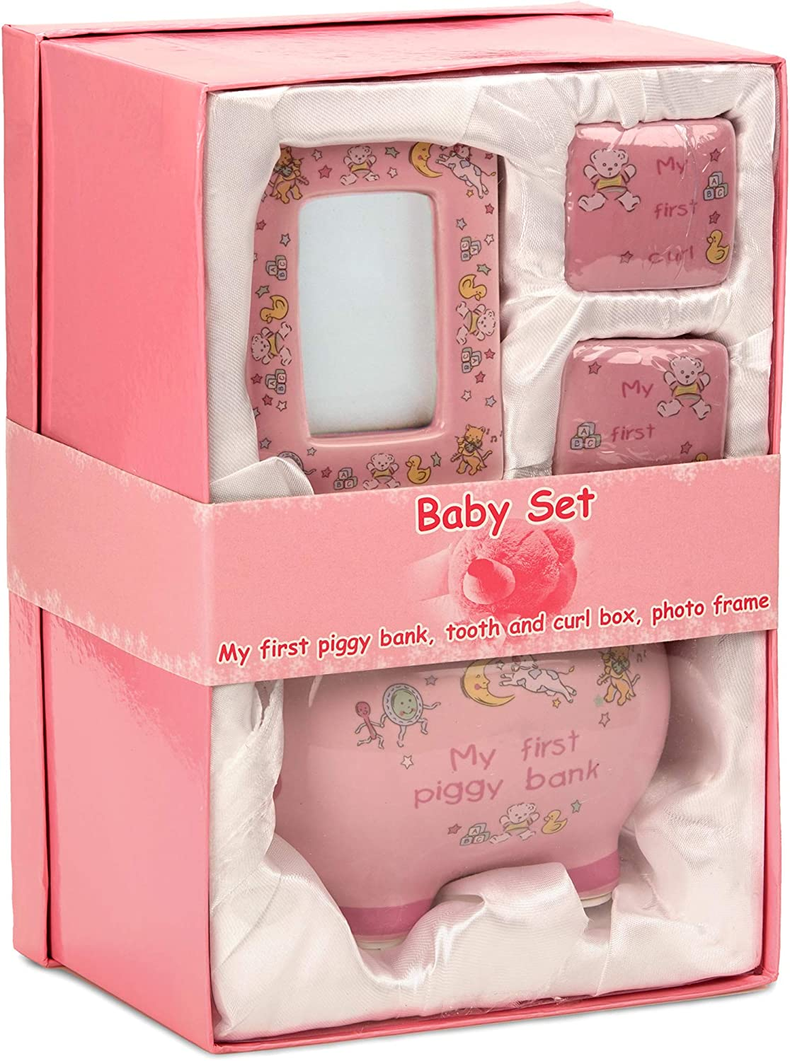 BRUBAKER My First Piggy Bank Gift Set for Baby Girl – 4 Pcs Keepsake Gift Set Includes Piggy Bank, First Curl, First Tooth and Photo Frame – Pink