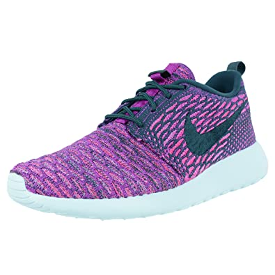 NIKE Womens WMNS Roshe One Flyknit Dark Atomic Teal/Vivid Purple Fabric Size 6