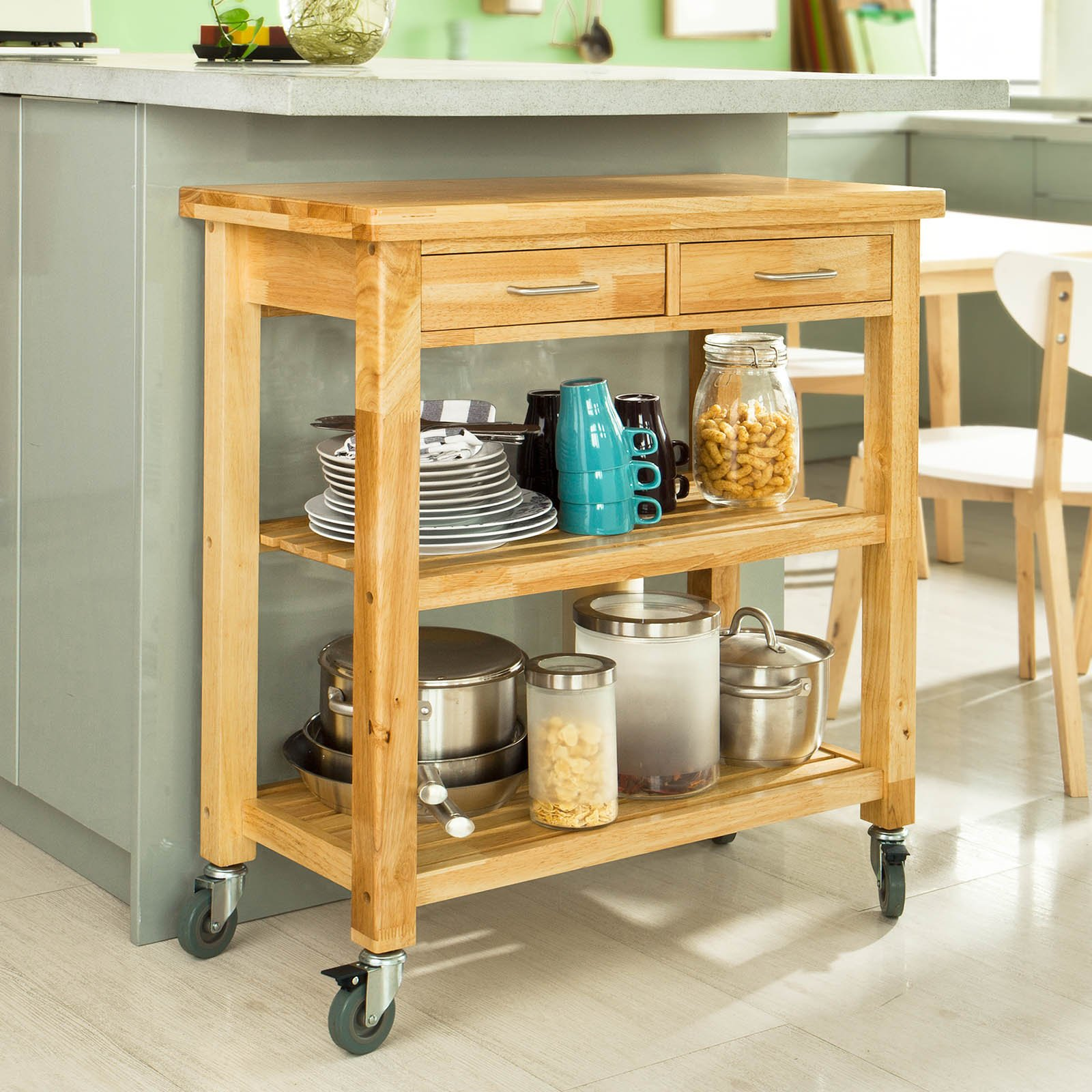 Haotian FKW24-N (natual), Rubber Wood Kitchen Trolley Cart with Two Drawers & Shelves, Kitchen Storage Trolley, L80cm(31.5in)xW40cm(15.7in)xH90cm(35.4in) by Haotian (Image #8)