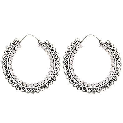 Silverly Women's .925 Sterling Silver Indian Filigree Round 27 mm Hoop Ethnic Earrings WWztm