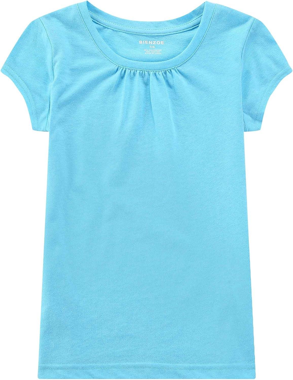 Bienzoe Girls School Uniform Breathable Quick-Dry Short Sleeve T-Shirt