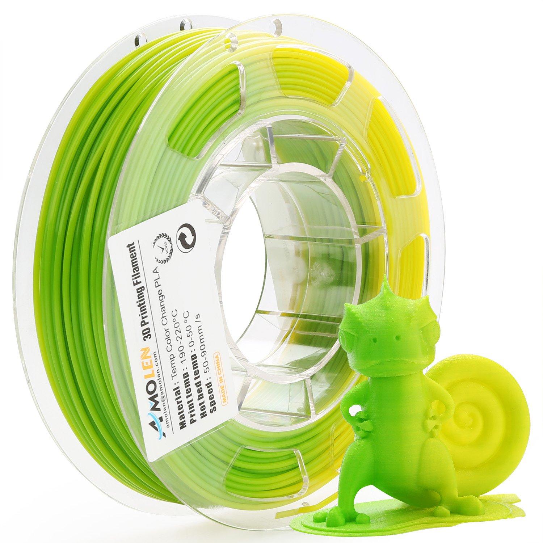 AMOLEN 3D Printer Filament, Temperature Color Change PLA Filament 1.75mm +/- 0.03 mm, 200G(0.44lb), Green to Yellow, Includes Sample UV Color Change Filament - 100% USA