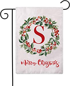 ULOVE LOVE YOURSELF Merry Christmas Wreath Decorative Garden Flags with Monogram Letter S Double Sided Winter Holiday Outdoor Garden Flags 12.5×18 Inch for House Garden Yard Patio Decor (S)