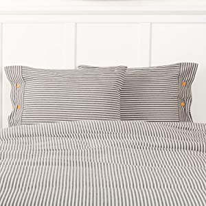 "Piper Classics Farmhouse Ticking Gray Stripe Standard Size Sham, 21"" x 27"", Bed Pillow Cover w/Buttons, Farmhouse Bedding"