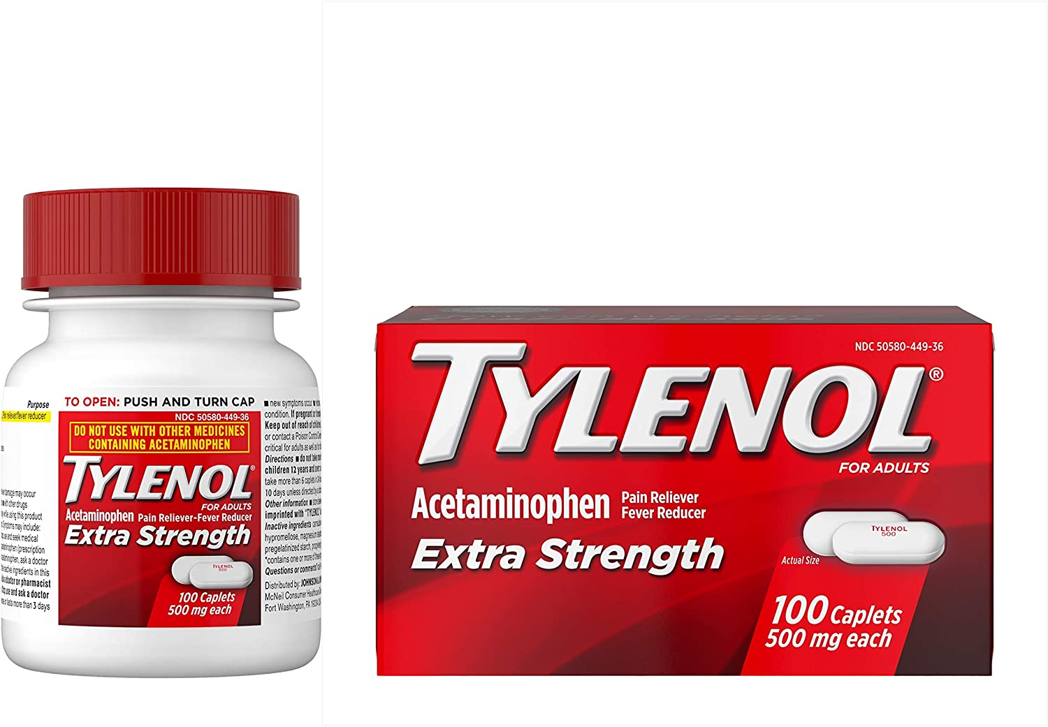 Tylenol Extra Strength Caplets with 500 mg Acetaminophen, Pain Reliever &  Fever Reducer, 100 ct: Health & Personal Care