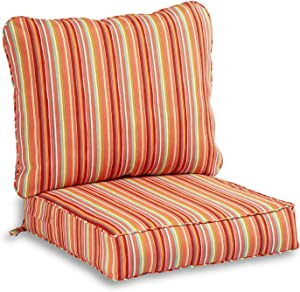 South Pine Porch AM7820-WATERMELON Watermelon Stripe 2-Piece Outdoor Deep Seat Cushion Set