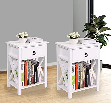 Beau Amazon.com: LAZYMOON Set Of 2 MDF Nightstand Table X Design Kids Room End  Table Side Table Home Storage White Finish: Kitchen U0026 Dining