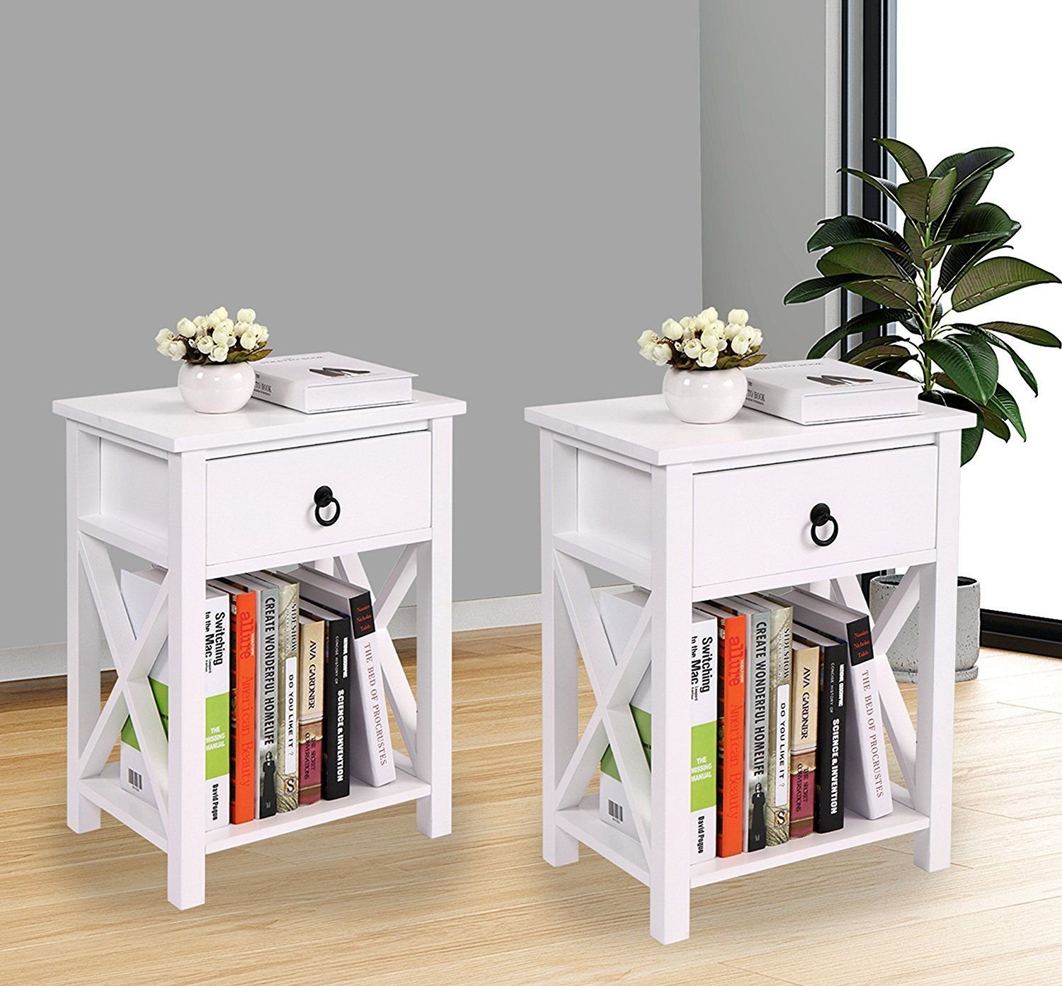 LAZYMOON Set of 2 MDF Nightstand Table X-Design Kids Room End Table Side Table Home Storage White Finish