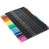 AmazaPens Fineliner Coloured Pens - Premium Sketch Colouring Pen Fine Tip Point 0.4mm Bleed Resistant Water Based Ink, Assorted Vibrant Colours, 24 Piece Set