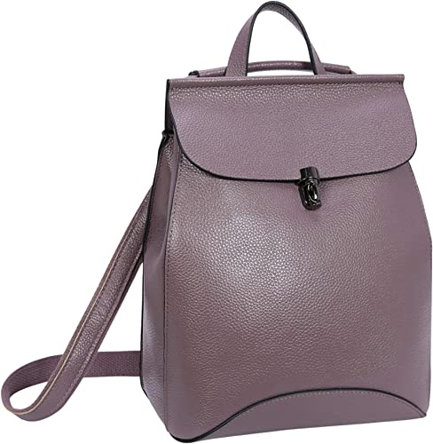 On Clearance Sale Heshe Leather Backpack Casual Backpacks Daypack for Womens and Ladies Lilac