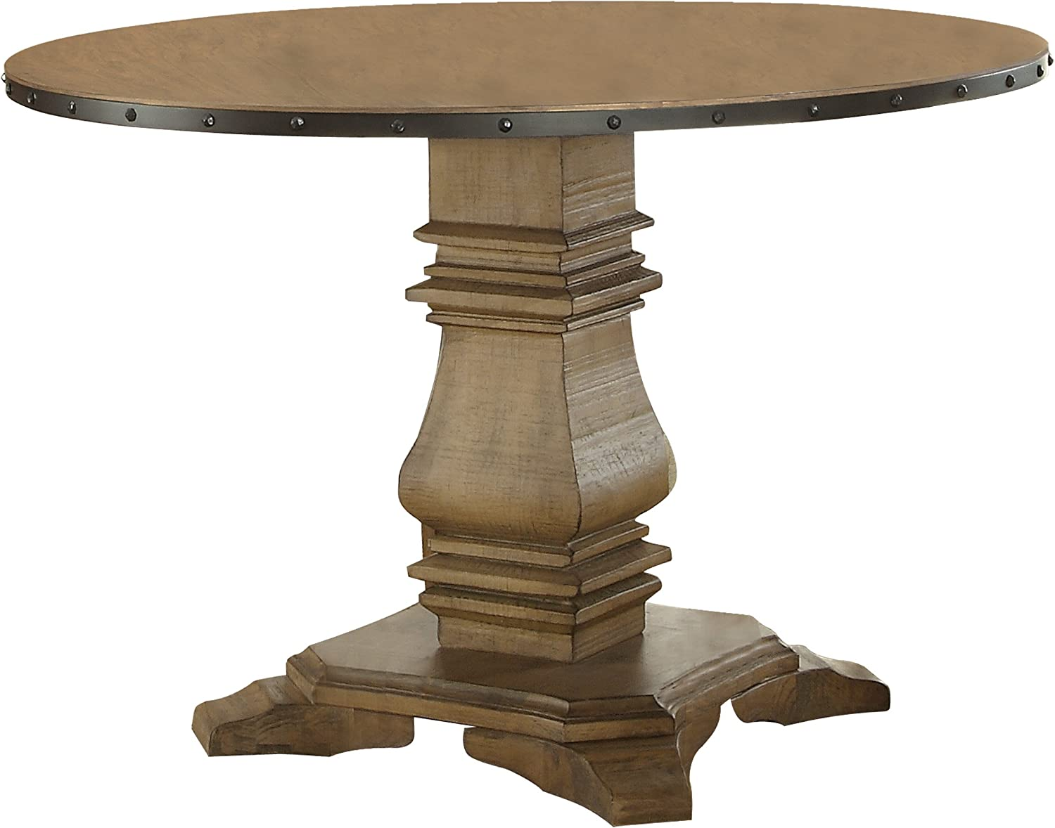 Homelegance Veltry 45 Round Dining Table with Pedestal Leg and Metal Nail Head Accent Banding, Rustic Oak