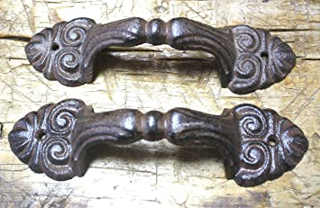 Gate Pull Shed Door Handles 3 Large Cast Iron Antique Style RUSTIC Barn Handle