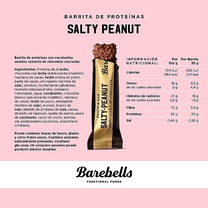 Barritas de proteínas Barebells Salty Peanut 12 x 55g, rica en proteínas, baja en carbohidratos y en azúcar, 20g proteína por barrita.