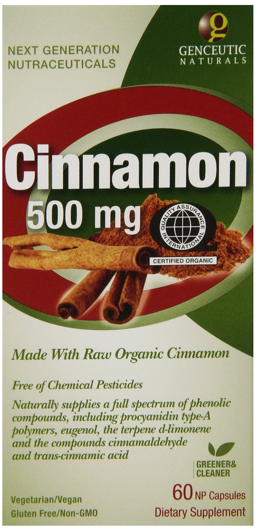 Genceutic Naturals Certified Dietary Supplement, Organic Cinnamon, 500 mg, 60 Count (Pack of 12)