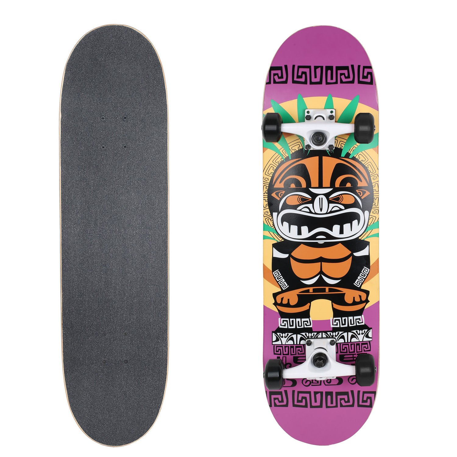 VOKUL 31'' X 8'' Complete Standard Skateboard with 7 Layer Maple Wood Cruiser Skateboard Deck for Kids Youths Adults (Black Wheels)