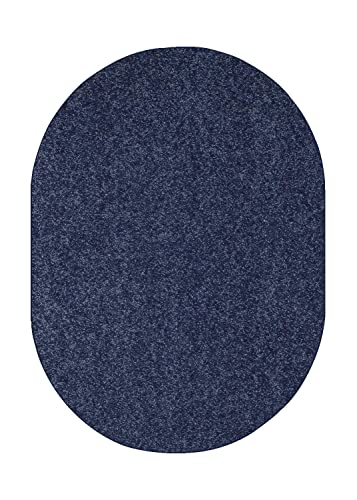 Home Cool Solid Colors Wind Dancer Collection Area Rugs Petrol Blue – 4 x6 Oval