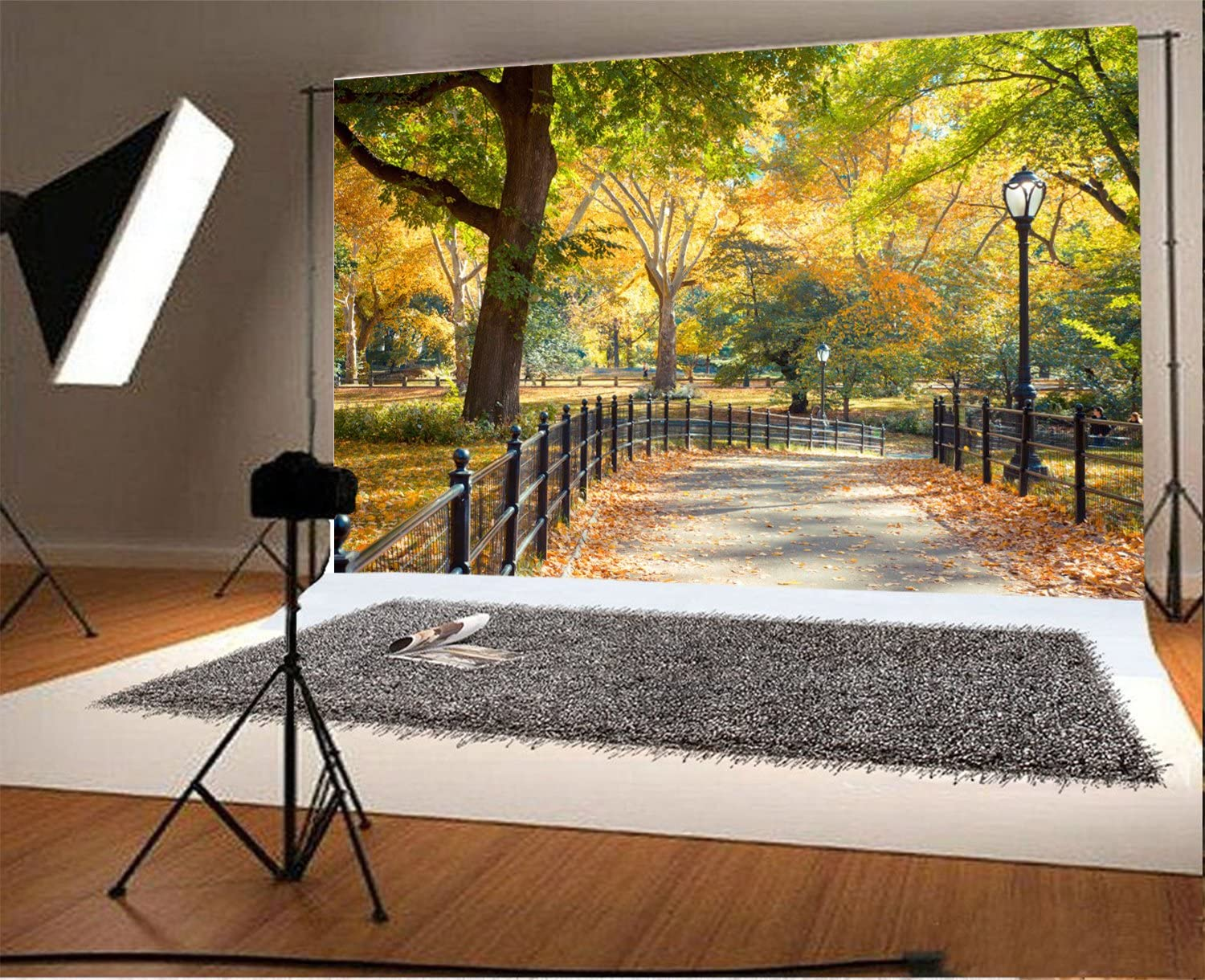 10x15 FT Photography Backdrop Central Park in Autumn with Lake Trees and Manhattan USA American Nature Image Background for Baby Shower Birthday Wedding Bridal Shower Party Decoration Photo Studio