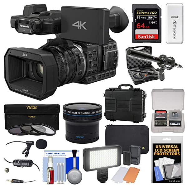 Panasonic HC-X1000 4K Ultra HD Wi-Fi Video Camera Camcorder with Fisheye Lens + 64GB Card + Waterproof Case + LED Light + Microphone Set + Filters Kit (Color: Black, Tamaño: Wireless Security Camera - Model HD1018)