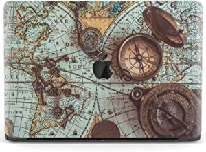 Mertak Hard Case for Apple MacBook Pro 16 Air 13 inch Mac 15 Retina 12 11 2020 2019 2018 2017 Plastic Touch Bar Protective Print Design Old Compass World Map Antique Nautical Cover Laptop Vintage