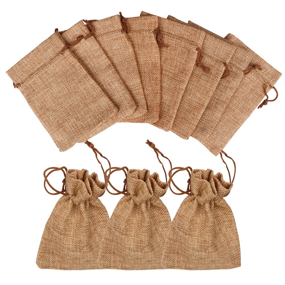 Ahoney 50 Pack Burlap Bags with Drawstring 3.7 x 5.2 inches Gift Bag for Wedding Favors, Party, DIY Craft, Christmas, and Jewelry Pouches