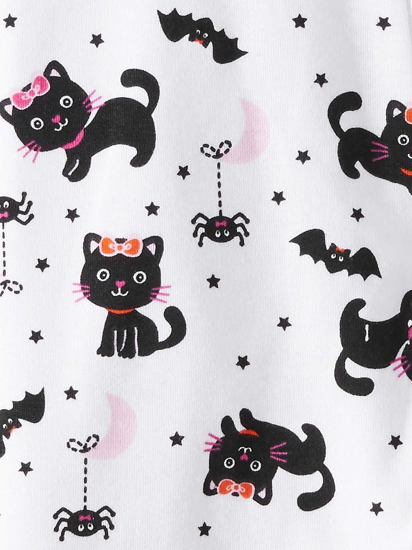 Pink Black Kitty Cat Baby Girls Halloween Footed Sleeper
