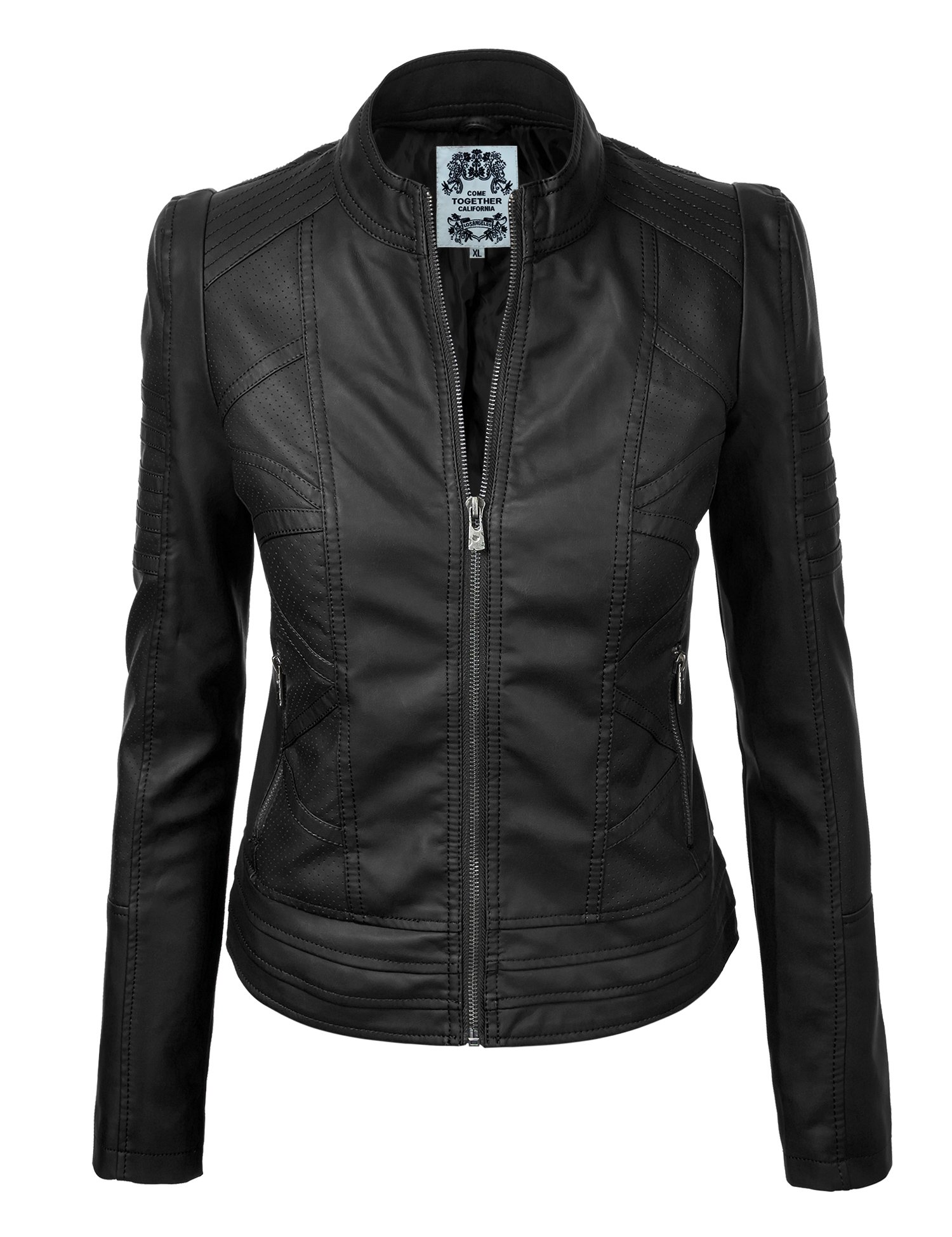Come Together California WJC746 Womens Vegan Leather Motorcycle Jacket XS Black