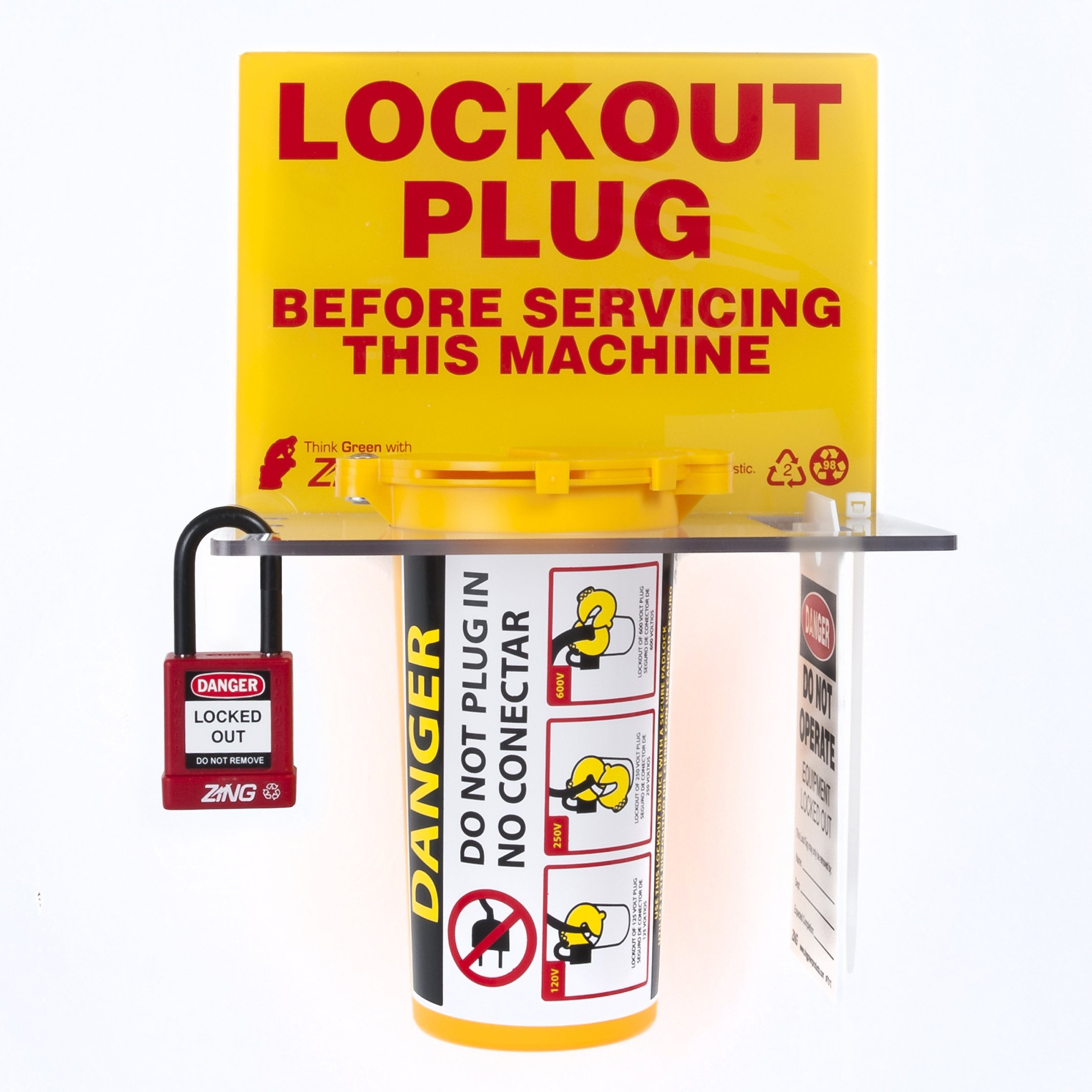 ZING 7117 RecycLockout Lockout Tagout Station, Plug Lockout
