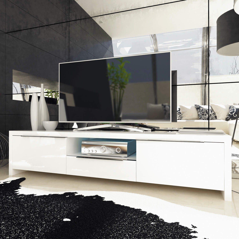 Evoque White High Gloss TV Unit Stand With LED Lighting + Storage:  Amazon.co.uk: Kitchen U0026 Home