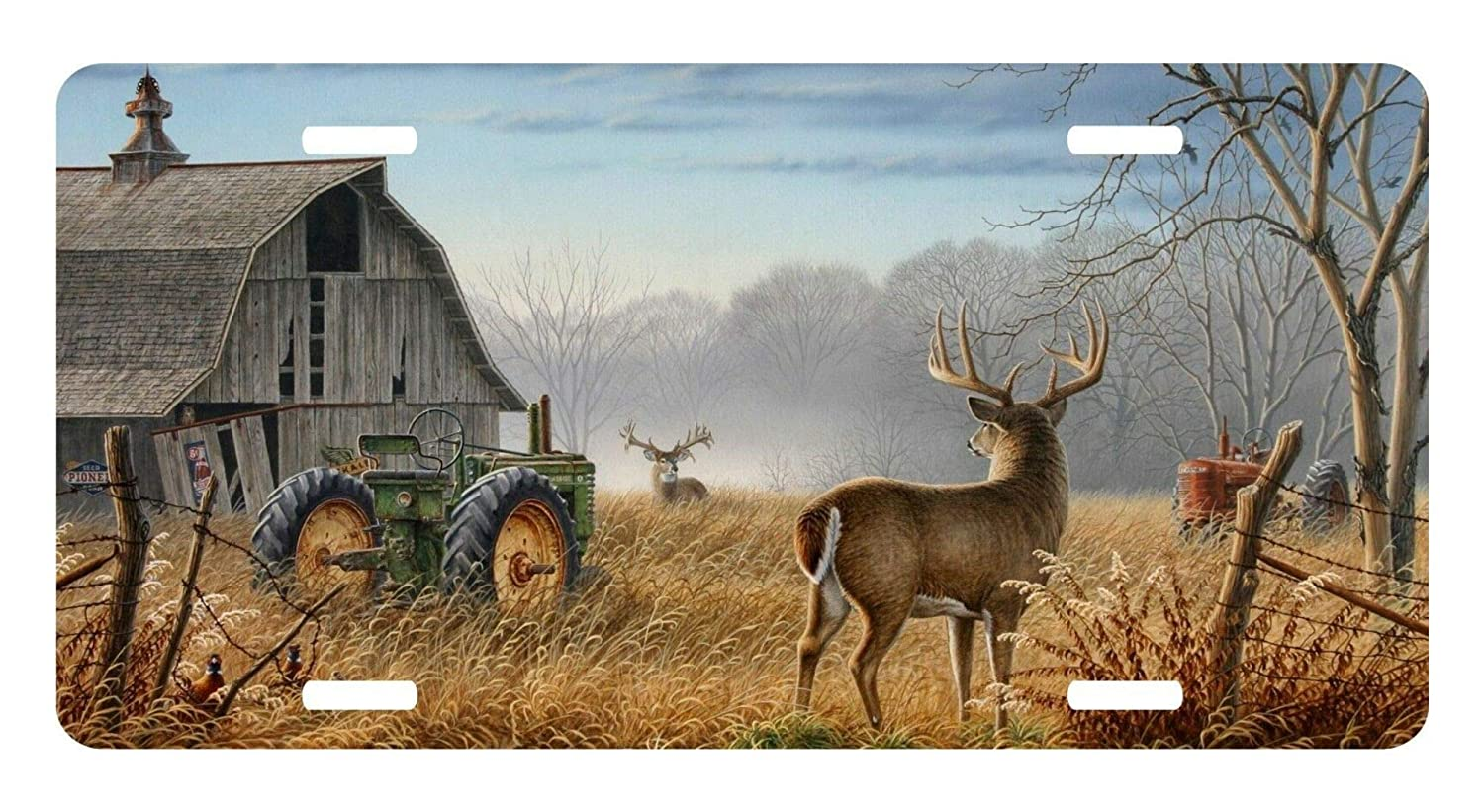 12 X 6 New Best Design Cool Old Tractor and Cute Deer//Elk Metal License Plate for Car