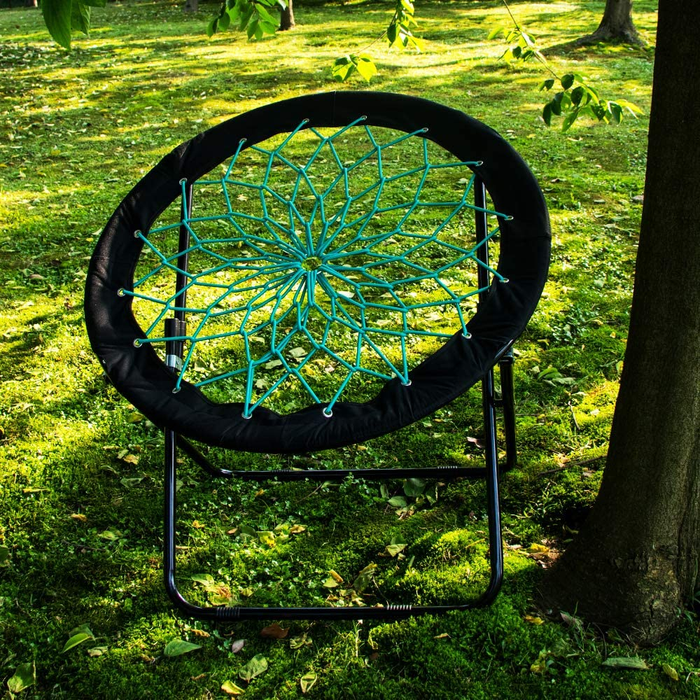 Camp Field Camping and Room Bungee Folding Dish Chair for Room Garden and Outdoor (Black) : Garden & Outdoor