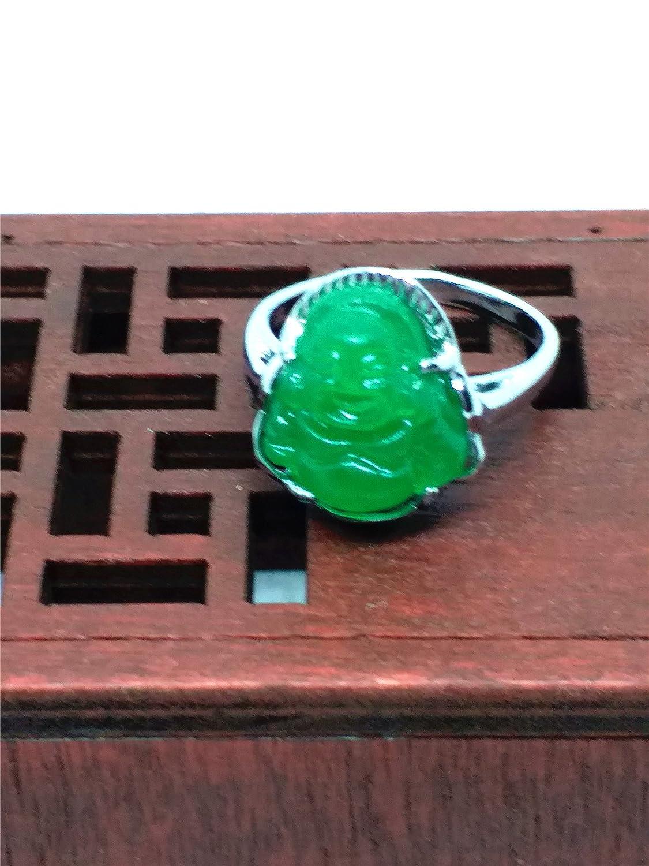 yigedan Womens Titanium Steel Carved Green Jade Buddha Ring qkOQJrf8sE