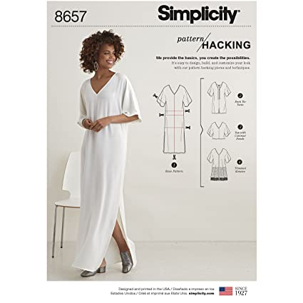 0ad2d3f14c Simplicity Women's Caftan with Options for Design Hacking Sewing Pattern,  Paper, White, XXS