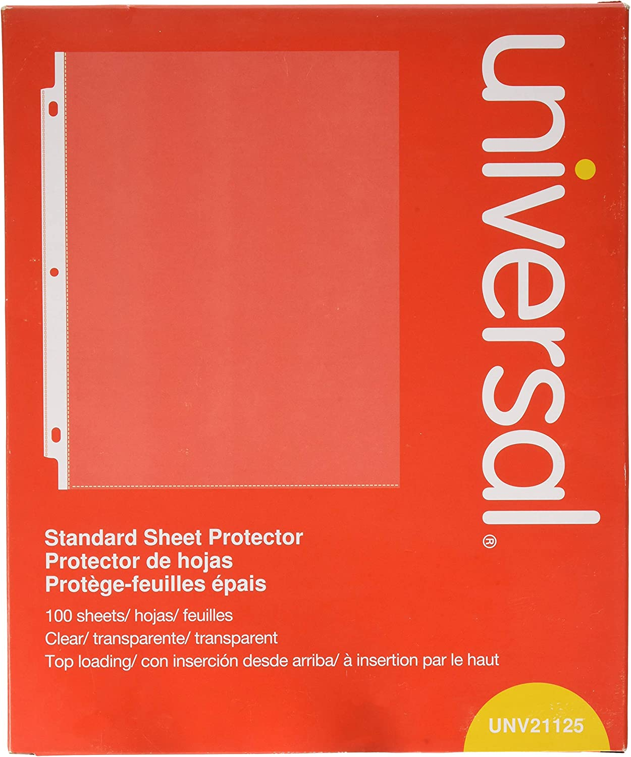 Universal Top-Load Poly Sheet Protectors, Standard, Letter, Clear, 100/box