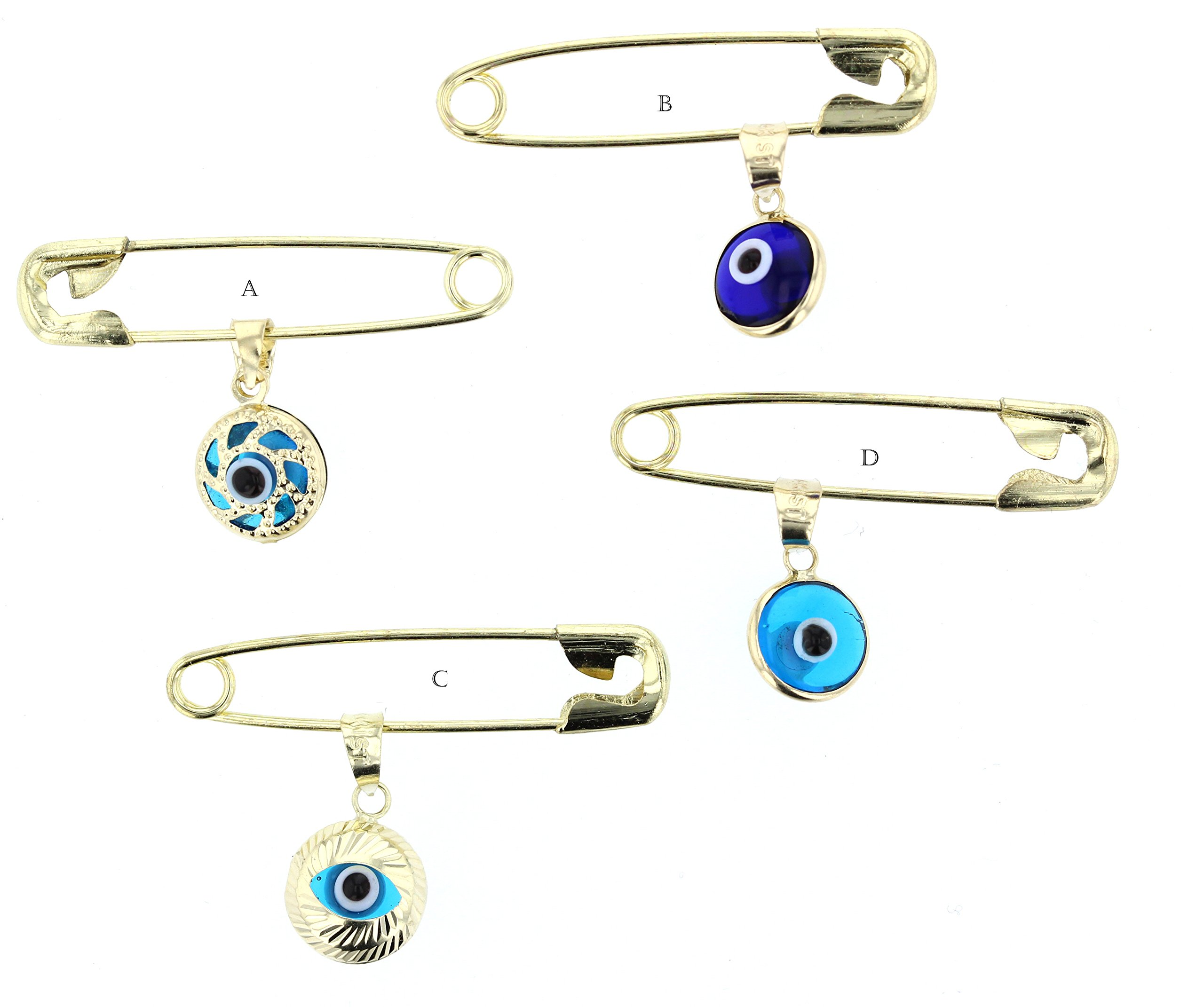 Evil Eye, 14Kt Gold Evil Eye Charm With Stainles Steel Safety Pin To Hook (A) by DiamondJewelryNY