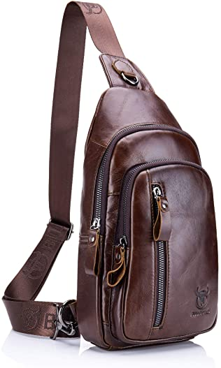 Genuine Leather Sling Bag,Full Grain Leather Casual Crossbody Shoulder Backpack Travel Hiking Vintage Chest Bag Daypacks for Men (Coffee)
