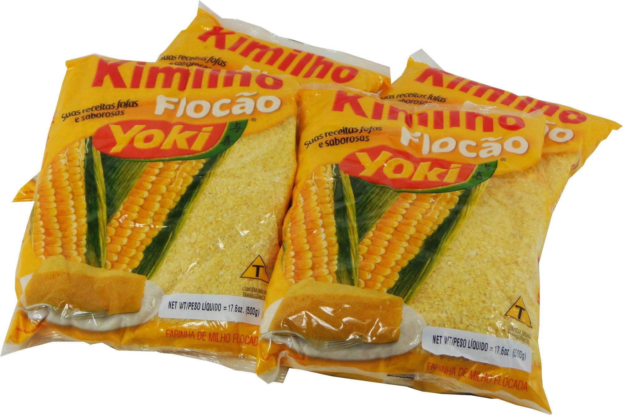 Yoki - Kimilho - Pre-Cooked Flocked Corn Meal (PACK OF 04)   Farinha de Milho Flocada - 500g