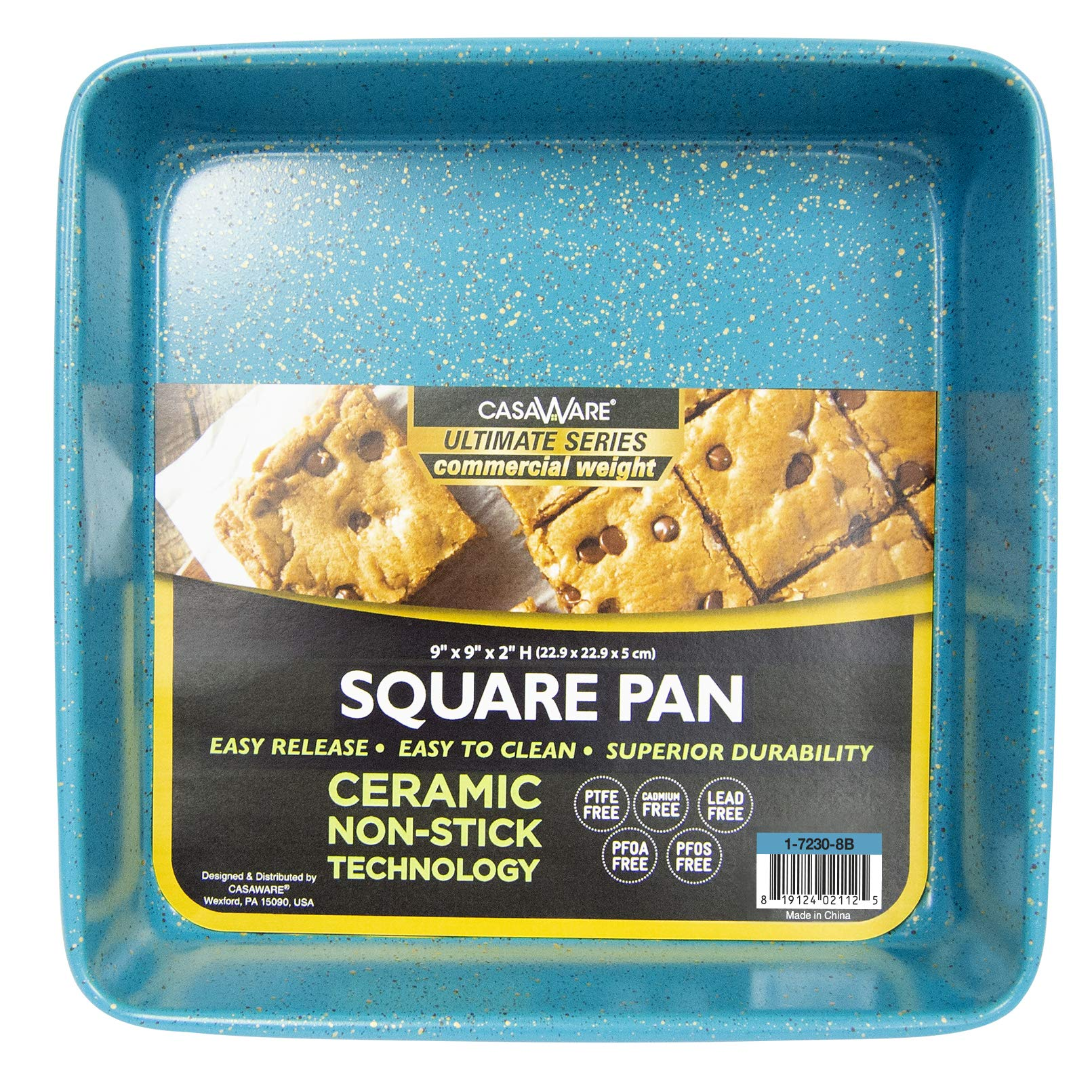casaWare Ceramic Coated NonStick Heavy Weight 9-inch Square Cake Pan (Blue Granite) by casaWare