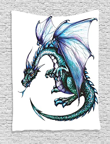 Ambesonne Dragon Tapestry, Epic Beast Dragon Created with Vibrant Gradient Colored Graphic Devil Image, Wall Hanging for Bedroom Living Room Dorm Decor, 60 X 80 , Purple Teal