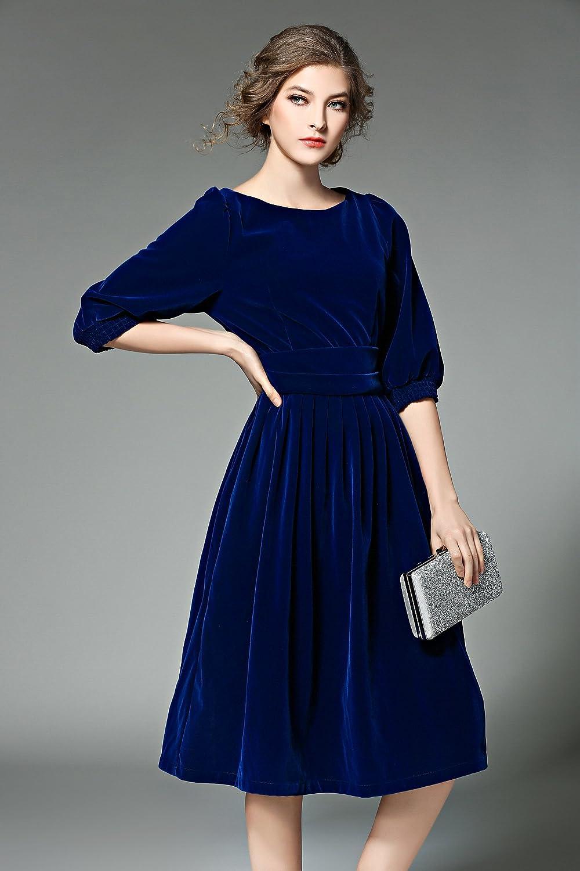 1940s Dresses | 40s Dress, Swing Dress, Tea Dresses Womens Casual Vintage Round Neck Velvet Tunic Swing A-Line Midi Party Dress  AT vintagedancer.com