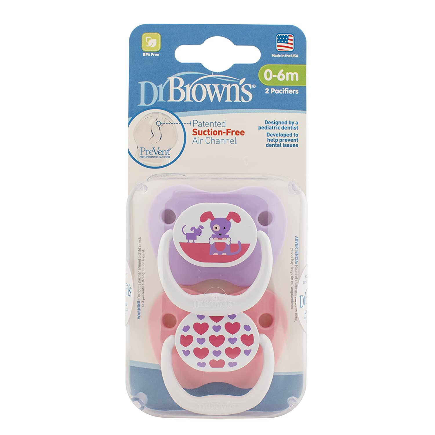 Dr. Browns Prevent Classic Pacifier, Stage 1 (0-6m), Unique Blue/Green, 2-Pack