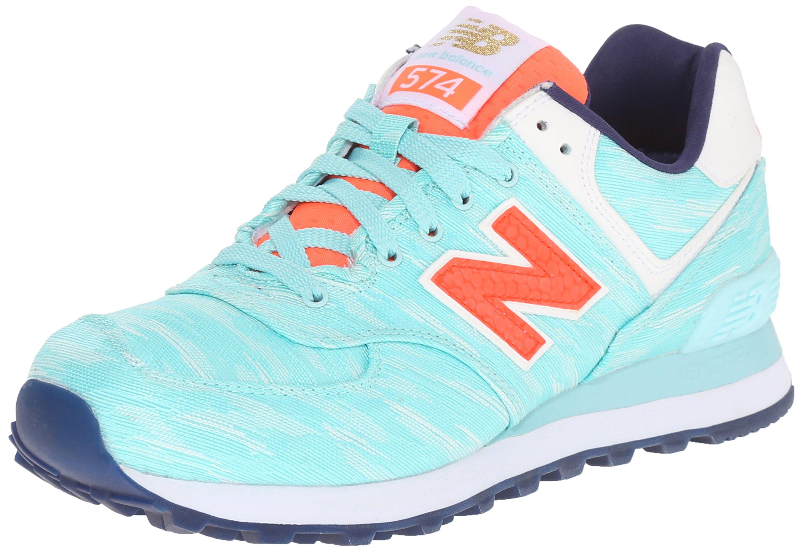 New Balance Women's WL574 Summer Waves Running Shoe, Artic Blue/Dragonfly, 5 B US