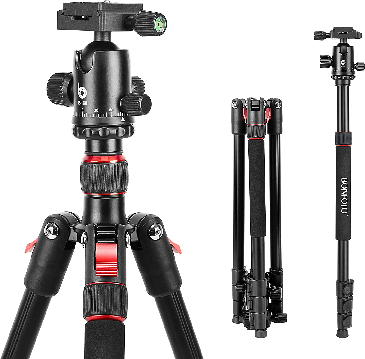 """70 Inches Tripod, Lightweight Aluminum Camera Tripod for DSLR, Photography Tripod with 360 Degree Ball Head 1/4"""" Quick Release Plate Load up to 18 Pounds"""