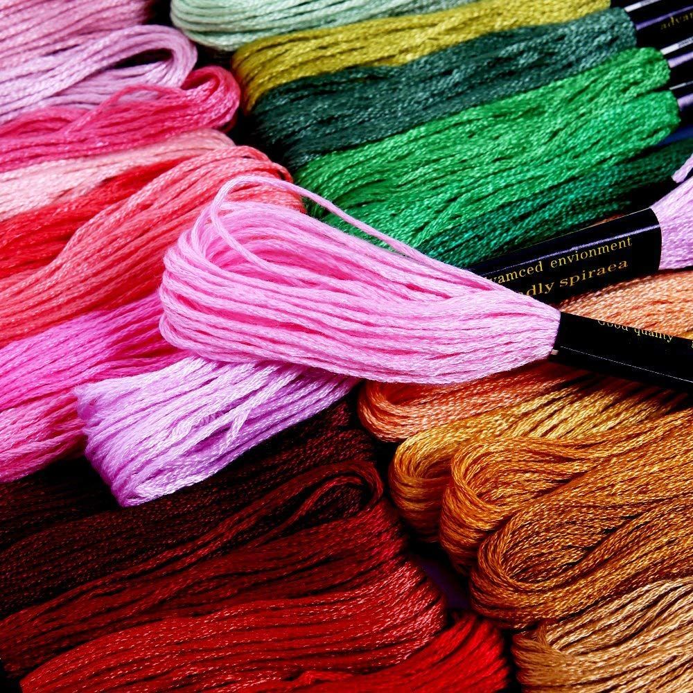IBEILLI Embroidery Floss 100 Skeins Thread Rainbow Color Cross Stitch Crafts Floss (100 Skeins) 4336932252