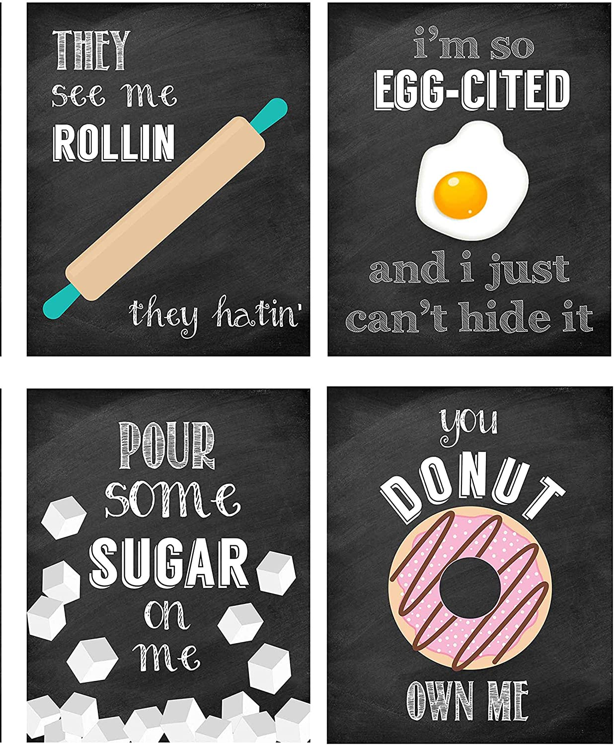 Silly Goose Gifts Funny Food Kitchen Music Lyrics Themed - Wall Art Prints Decoration (Donut Own Me)