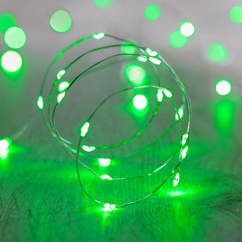 20er LED Draht Micro Lichterkette grün Batteriebetrieb Lights4fun ...