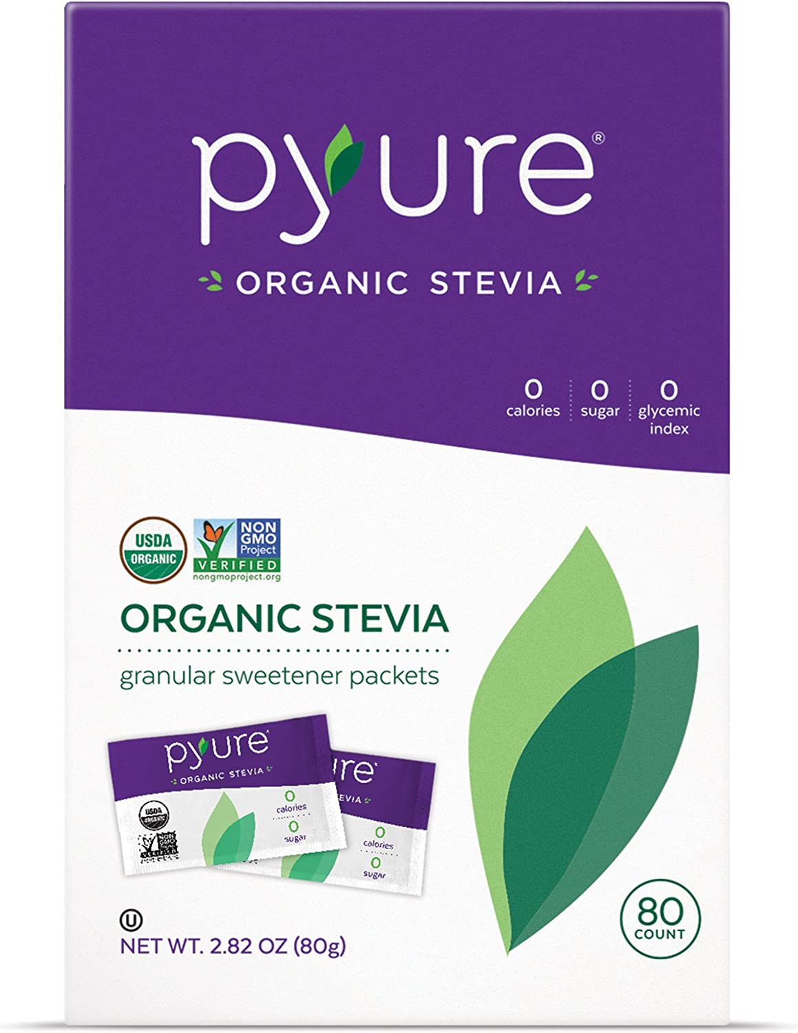 Organic Stevia Packets, Natural Sweetener, 0 Calorie, 80 Count Pack of 6