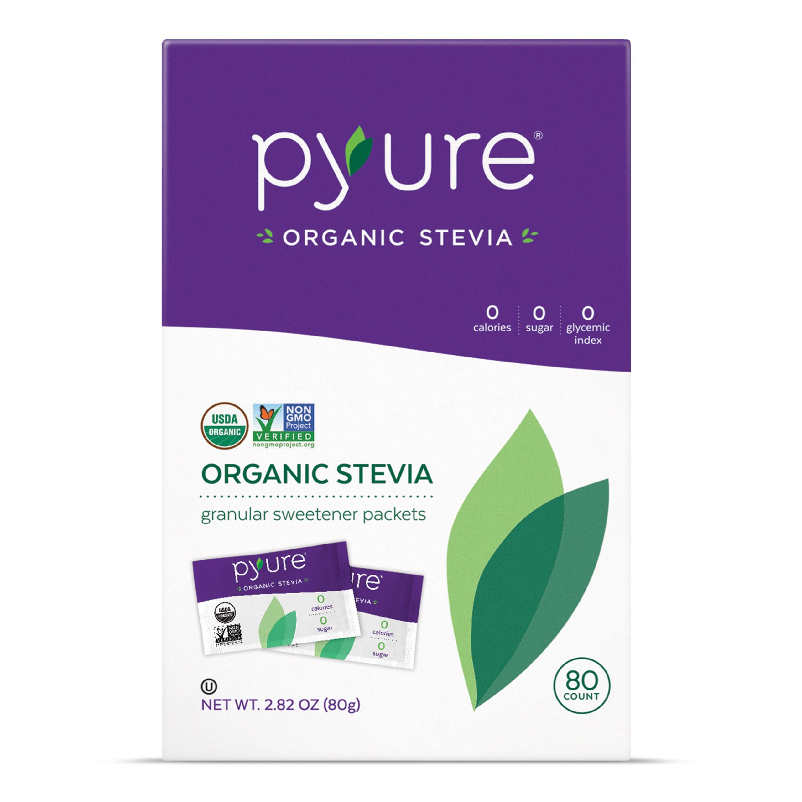 Pyure Organic Stevia Sweetener Packets, 0 Calorie, Sugar Substitute, 80 Count by Pyure (Image #1)