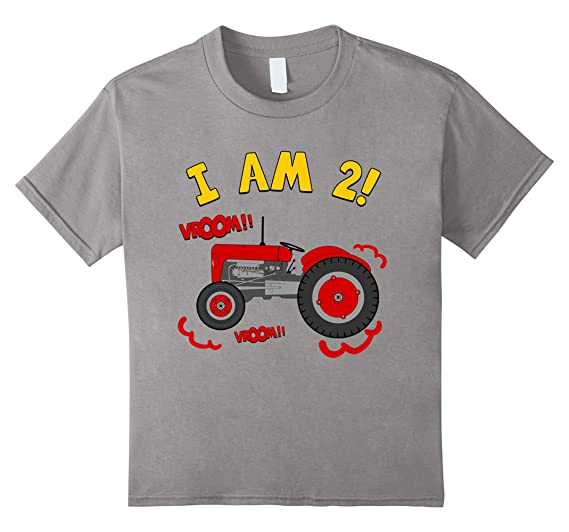 Kids 2nd Birthday Tractor T Shirt 2 Year Farm Tee 4 Slate