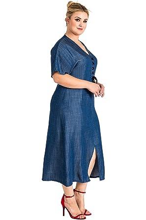 deaffdb93eb7e5 Standards & Practices Plus Size Women's Lace Up Split Tencel Denim Midi  Dress ...
