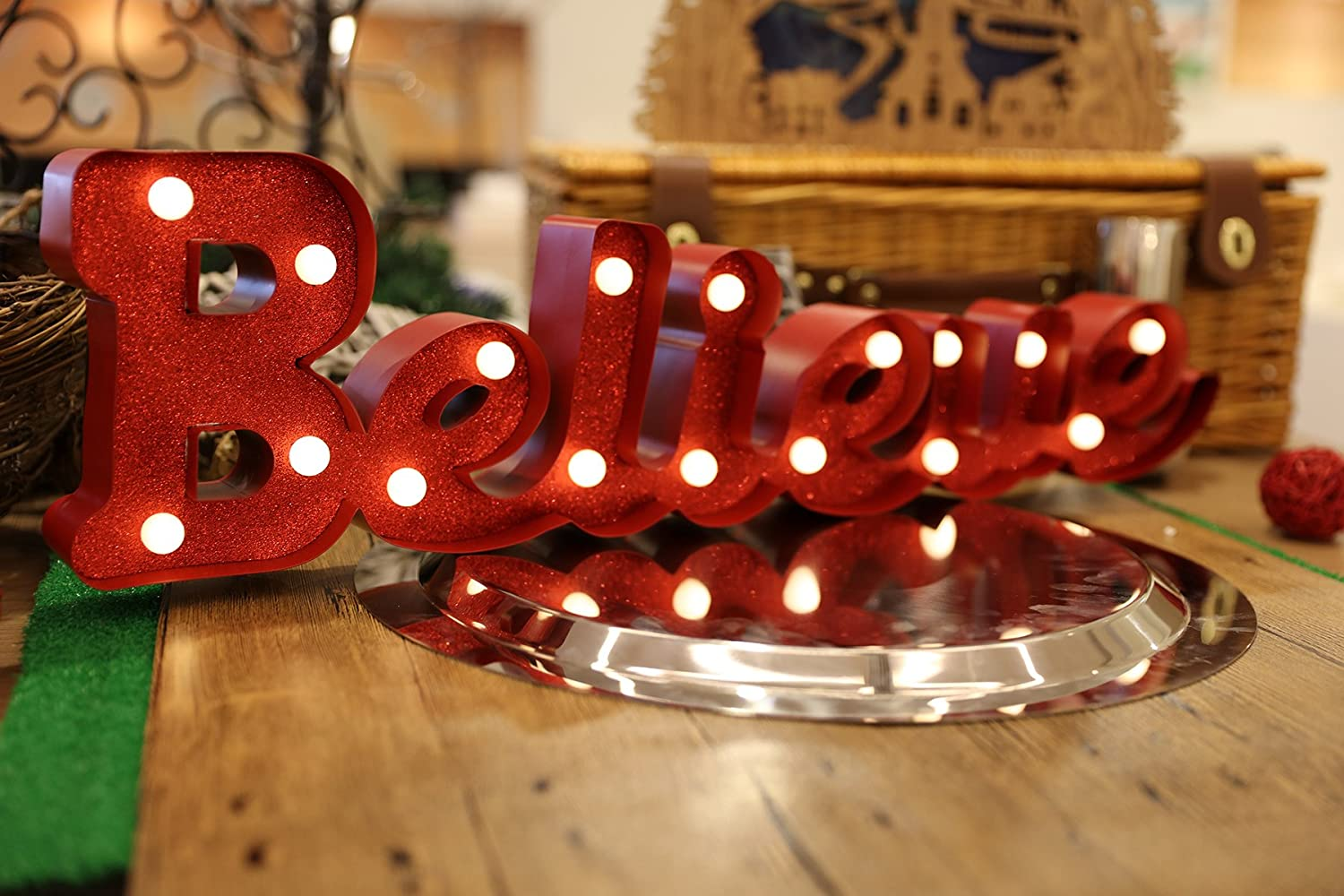 Christmas Festival LED Light Marquee Sign Battery Operated Table Desk Ornament Decoration Believe
